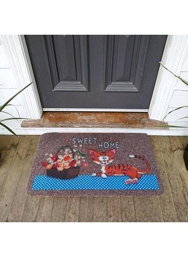 Giz Home Giz Home Boyalı/Megan 40X60 Kahve Home Sweet Home Kedi Kapı Paspası Renkli